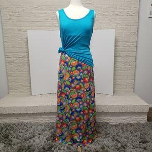 LuLaRoe 2 Piece Outfit Maxi Skirt Tank Top Blue M